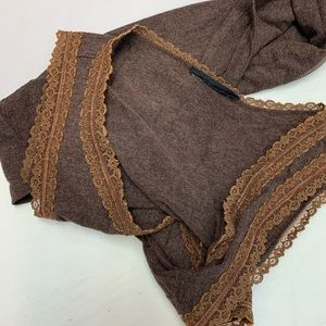 Basic Editions Tops - Brown Lace Trimmed Tank Top